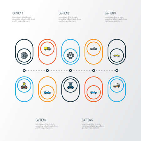 rim: Auto Colorful Outline Icons Set. Collection Of Washing, Auto, Pickup And Other Elements. Also Includes Symbols Such As Water, Wheel, Electric.