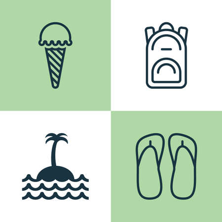 Tourism Icons Set. Collection Of Rucksack, Frozen Food, Reef And Other Elements. Also Includes Symbols Such As Ice, Palm, Cream. Illustration