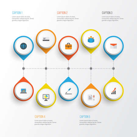 economic cycle: Job Flat Icons Set. Collection Of Global, Group, Envelope And Other Elements. Also Includes Symbols Such As Letter, Payment, Page. Illustration