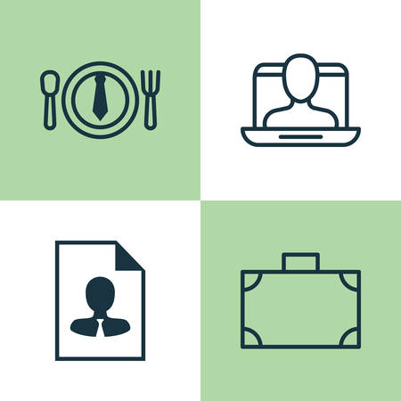 haversack: Management Icons Set. Collection Of Cv, Social Profile, Dinner And Other Elements. Also Includes Symbols Such As Identity, Lunch, Portfolio. Illustration