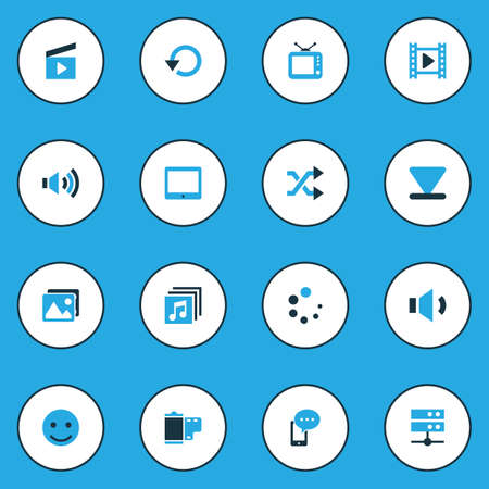old telephone: Media Colorful Icons Set. Collection Of Smile, Movie, Randomize Elements. Also Includes Symbols Such As Arrow, Randomize, Picture. Illustration