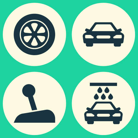 car speed: Automobile Icons Set. Collection Of Transport Cleaning, Auto, Stick And Other Elements. Also Includes Symbols Such As Automobile, Wheel, Water.