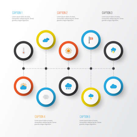 scale: Climate Flat Icons Set. Collection Of Sun, Sunny, Lightning And Other Elements