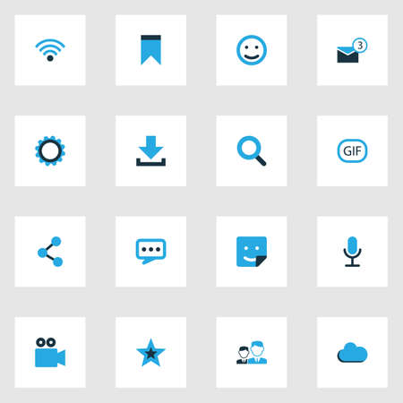 smiley: Internet Colorful Icons Set. Collection Of Cogwheel, Share, Cloud And Other Elements Illustration