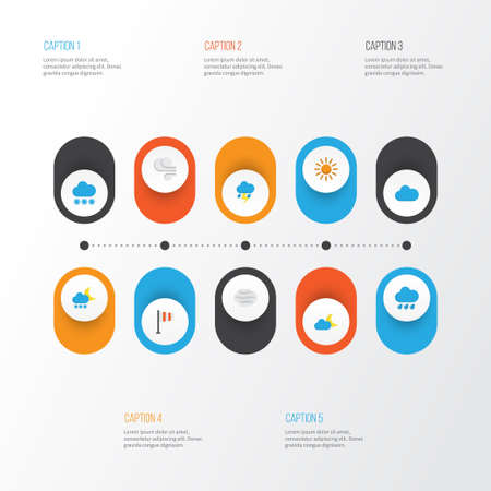 Climate Flat Icons Set. Collection Of Banner, Crescent, Lightning And Other Elements