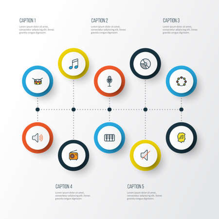 electronic music: Music Colorful Outline Icons Set. Collection Of Keys, Tambourine, Mute And Other Elements Illustration