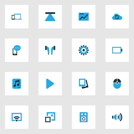 repeatability: Media Colorful Icons Set. Collection Of Chart, Devices, Empty Accumulator And Other Elements Illustration