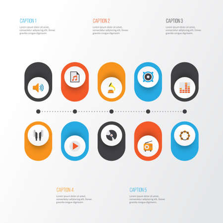 Multimedia Flat Icons Set. Collection Of Button, Dj, Earpiece And Other Elements