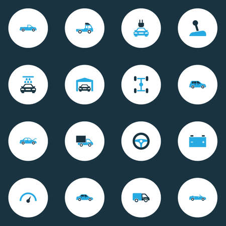 automatic transmission: Auto Colorful Icons Set. Collection Of Vehicle Wash, Auto Hood, Pickup And Other Elements Illustration