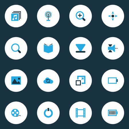 repeatability: Multimedia Colorful Icons Set. Collection Of Bottom, Zoom In, Power And Other Elements Illustration