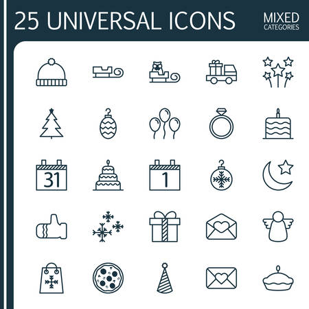 Holiday Icons Set. Collection Of Flan, Sleigh, Knitted Cap And Other Elements