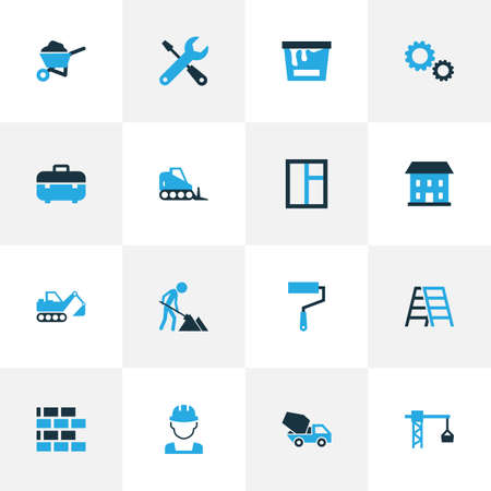 Industry Colorful Icons Set. Collection Of Building, Paint, Case And Other Elements. Also Includes Symbols Such As Toolbox, Hook, Bulldozer.