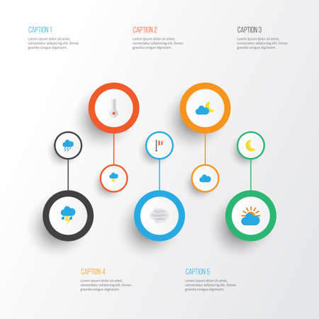 Air Flat Icons Set. Collection Of Moon, The Flash, Windy And Other Elements Illustration