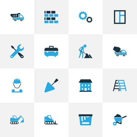 Industry Colorful Icons Set. Collection Of Case, Tip Truck, Worker And Other Elements. Also Includes Symbols Such As Tools, Building, Bucket.
