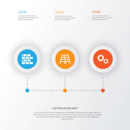 Construction Icons Set. Collection Of Cogwheel, Wall, Stair And Other Elements Illustration
