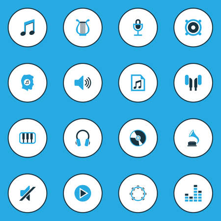 Multimedia Colorful Icons Set. Collection Of Note, Mute, Gramophone And Other Elements Illustration