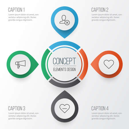 medical distribution: Communication Icons Set. Collection Of Bullhorn, Follow, Ban And Other Elements Illustration