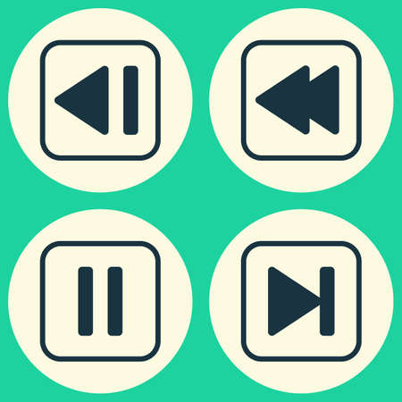 music: Audio Icons Set. Collection Of Last Song, Mute Song, Rewind Back And Other Elements Illustration