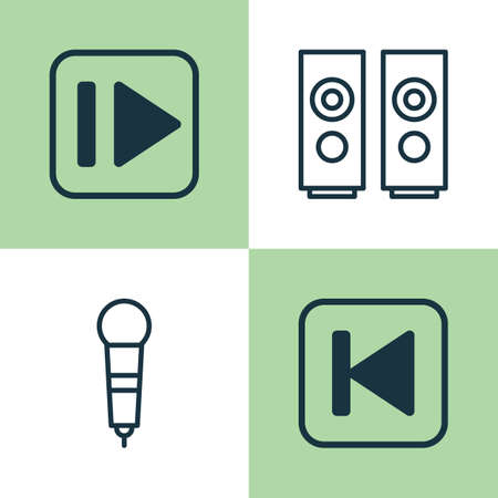 pause button: Music Icons Set. Collection Of Following Music, Microphone, Sound Box And Other Elements