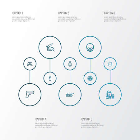 Battle Outline Icons Set. Collection Of Bombshell, Venom, Cranium And Other Elements Illustration