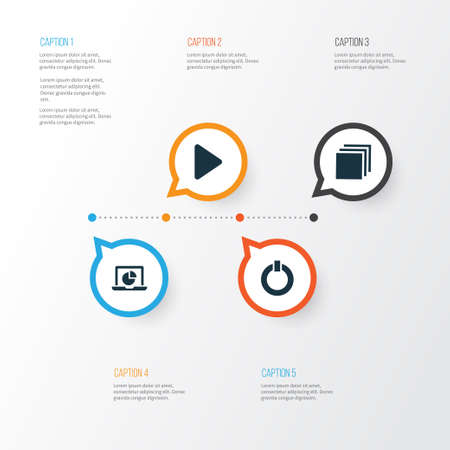 music: Media Icons Set. Collection Of Power, Infographic, Group And Other Elements