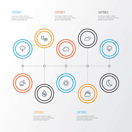 Weather Outline Icons Set. Collection Of Stormy, Sun, Overcast And Other Elements Vector Illustration