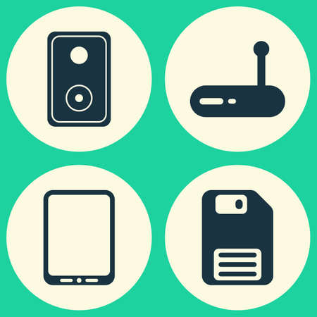 electronic music: Hardware Icons Set. Collection Of Audio Device, Cellphone, Router And Other Elements