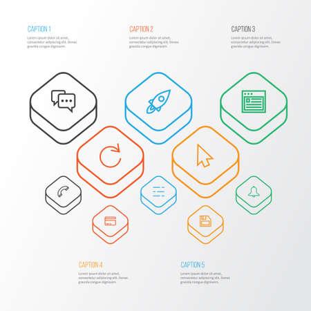 ユーザー アウトラインのアイコンを設定します。リロード、ディスケット、ブラウザー、その他の要素のコレクション