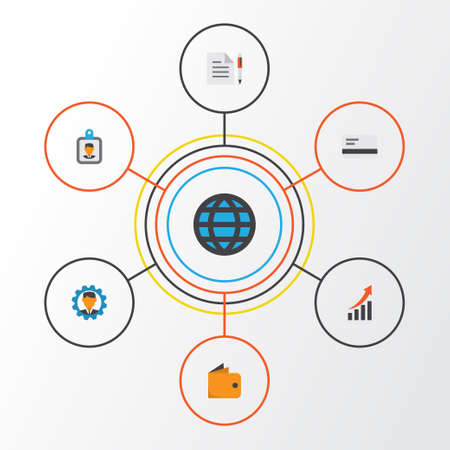 billfold: Business Flat Icons Set. Collection Of Id Badge, Payment, Billfold And Other Elements. Also Includes Symbols Such As Network, Arrow, Badge. Illustration