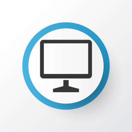 Monitor Icon Symbol. Premium Quality Isolated Desktop Element In Trendy Style.