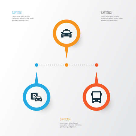 Transportation Icons Set. Collection Of Cab, Road Sign, Omnibus And Other Elements. Also Includes Symbols Such As Auto, Bus, Car. Illustration