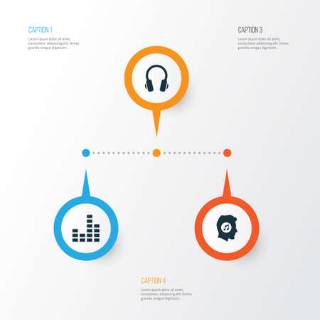 Multimedia Icons Set. Collection Of Meloman, Equalizer, Earphone And Other Elements; Also Includes Symbols Such As Headphone, Lover, Earmuff. Illustration