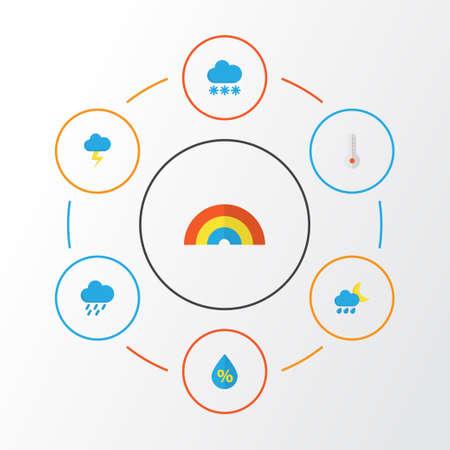 天気フラット アイコン セット。フラッシュ、雹、温度、その他の要素のコレクションです。また点滴、熱いシャワーなどの記号が含まれます。