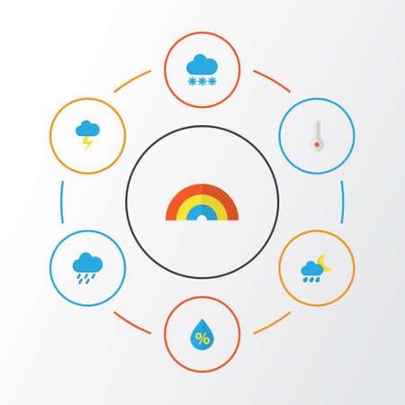 Weather Flat Icons Set. Collection Of The Flash, Hailstones, Temperature And Other Elements. Also Includes Symbols Such As Drip, Hot, Shower. Illustration
