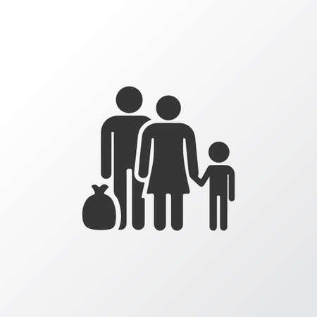 Simbolo dell'icona del rifugiato. Elemento fuggitivo isolato di qualità premium in stile d'avanguardia.