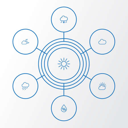 Air Outline Icons Set. Collection Of Drop, Cloud, Drizzle And Other Elements. Also Includes Symbols Such As Rain, Moonshine, Fog. Vector Illustration