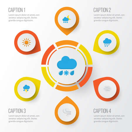 Weather Flat Icons Set. Collection Of Drizzles, Shower, Sun And Other Elements. Also Includes Symbols Such As Sunny, Outbreak, Snow.