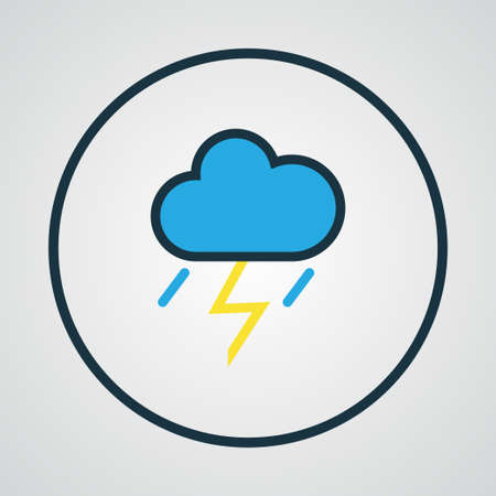 overcast: Cloudburst Colorful Outline Symbol. Premium Quality Isolated Thunderstroke Element In Trendy Style. Illustration