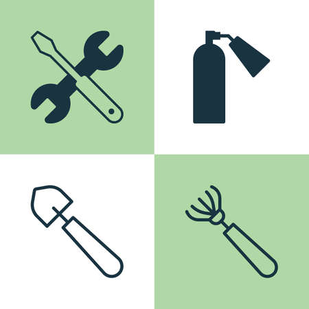 inflammable: Tools Icons Set. Collection Of Firefighter, Harrow, Scoop And Other Elements. Also Includes Symbols Such As Fire, Firefighter, Repair.