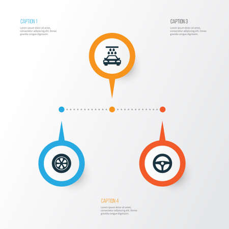 rim: Auto Icons Set. Collection Of Drive Control, Transport Cleaning, Wheel And Other Elements Illustration