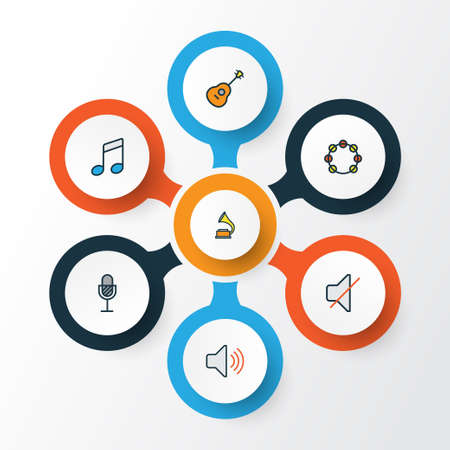Collection Of Multimedia Icons Set. Illustration