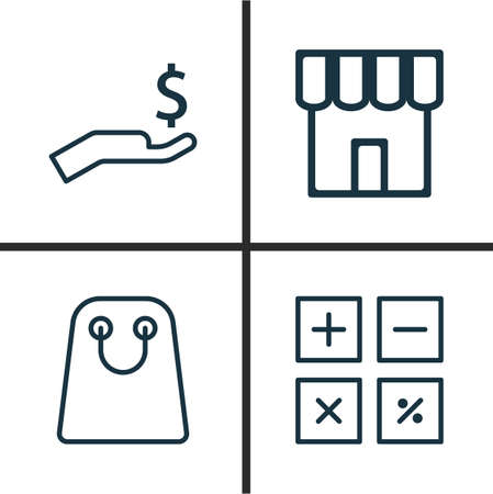 haversack: Collection Of Commerce Icons Set. Illustration