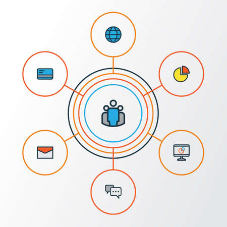 Trade Colorful Outline Icons Set. Collection Of Bank Cash, Pie Chart, Conversation And Other Elements