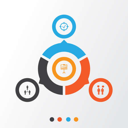 Authority Icons Set. Collection Of Approved Target, Report Demonstration, Team Meeting And Other Elements Illustration