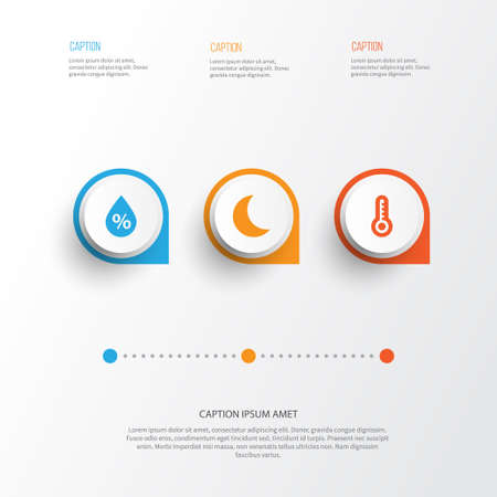 Air Icons Set. Collection Of Moisture, Temperature, Moon And Other Elements