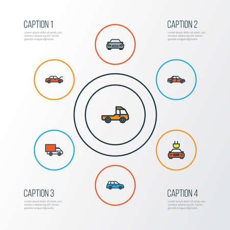 camion: Auto Colorful Outline Icons Set. Collection Of Car, Automobile, Van And Other Elements