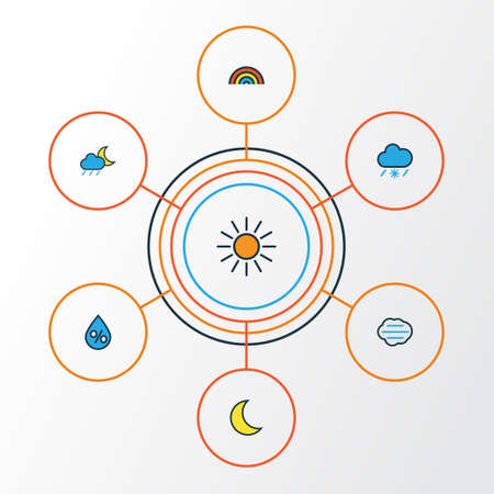 Air Colorful Outline Icons Set. Collection Of Tornado, Tempest, Moonbeam And Other Elements