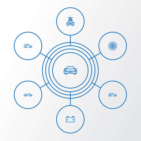 Automobile Outline Icons Set. Collection Of Wheel, Washing, Car And Other Elements Illustration
