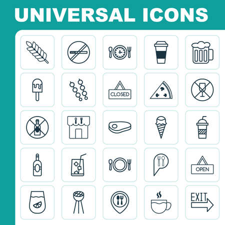 supper: Eating Icons Set. Collection Of Alcohol Forbid, Sundae, Cutlery And Other Elements