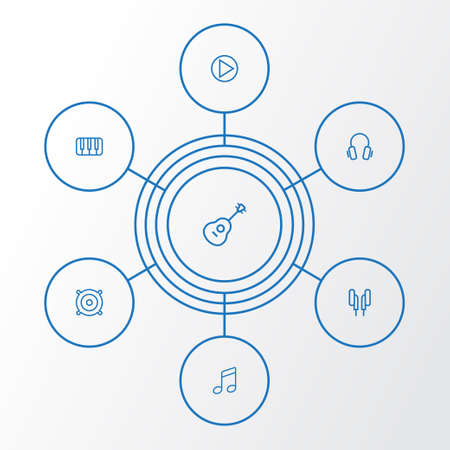 Audio Outline Icons Set. Collection Of Circle, Melody, Orator And Other Elements 일러스트